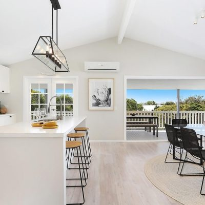 Hamptons coastal dining and kitchen open living