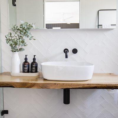 Ensuite bathroom timber benchtop