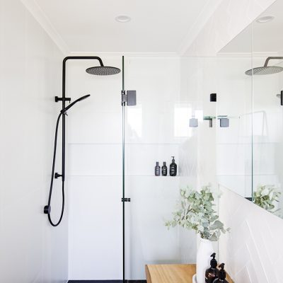 Ensuite shower black tapware