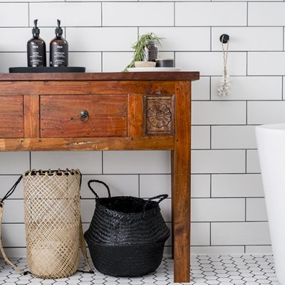 Main bathroom with vintage timber vanity